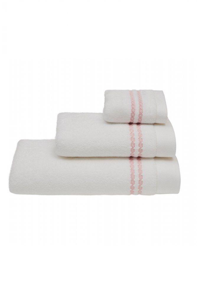 Ręcznik CHAINE 50 x 100 cm Biały / różowy haft