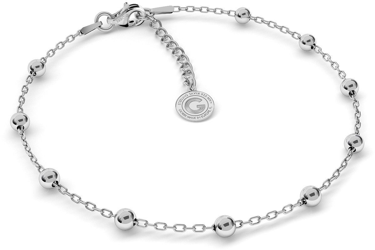 Srebrna bransoletka z kulkami 4mm, srebro 925 : Srebro - kolor pokrycia - Pokrycie platyną