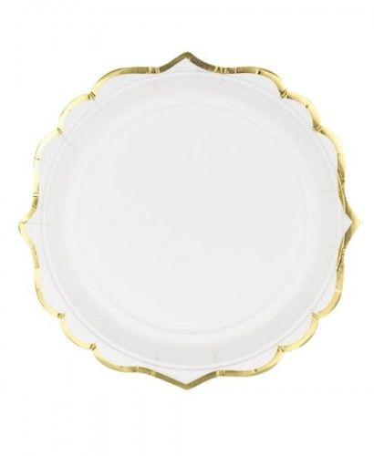Talerzyki białe ze złotą obwódką