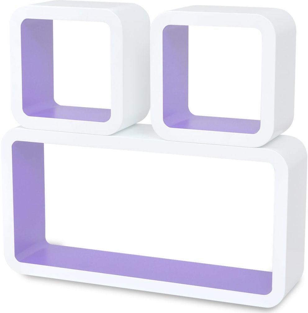 Zestaw biało-fioletowych półek ściennych - Lara 2X