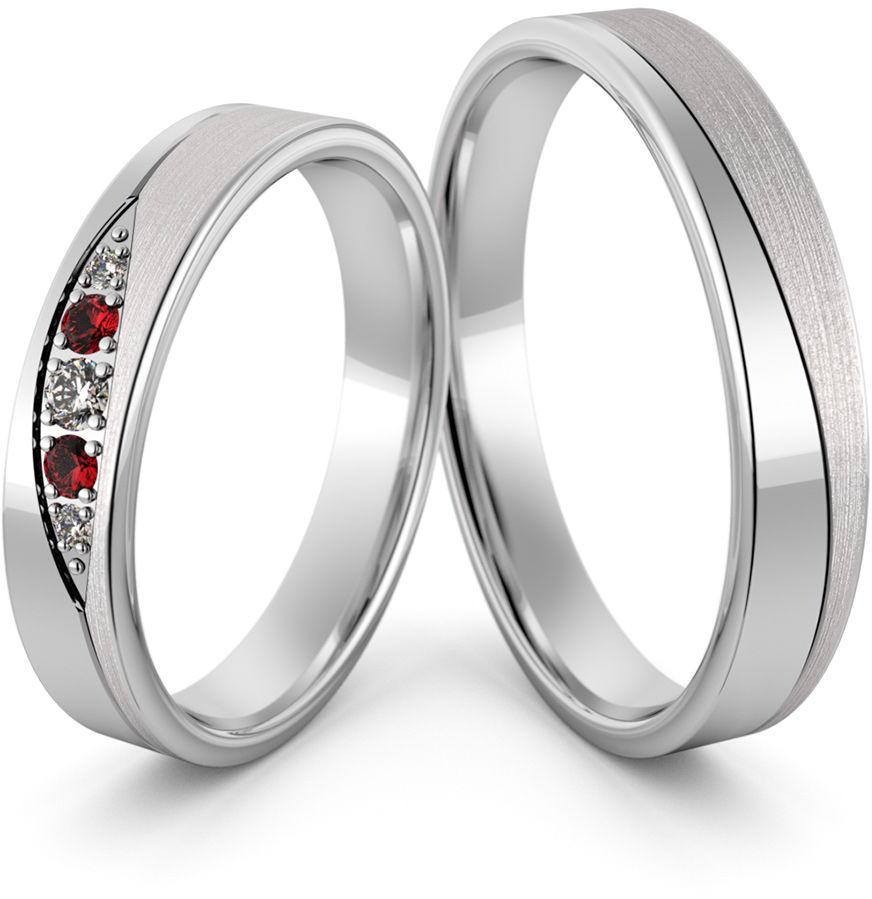 Obrączki srebrne z rubinami - wzór Ag-473