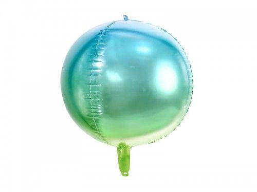 Balon foliowy Kula ombre, niebiesko-zielona