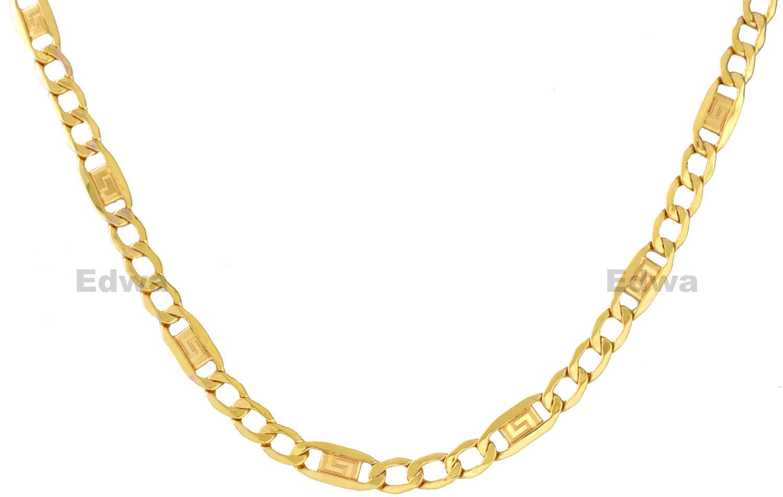 Łańcuszek złoty Figaro pr.585, dmuchane złoto 55 cm