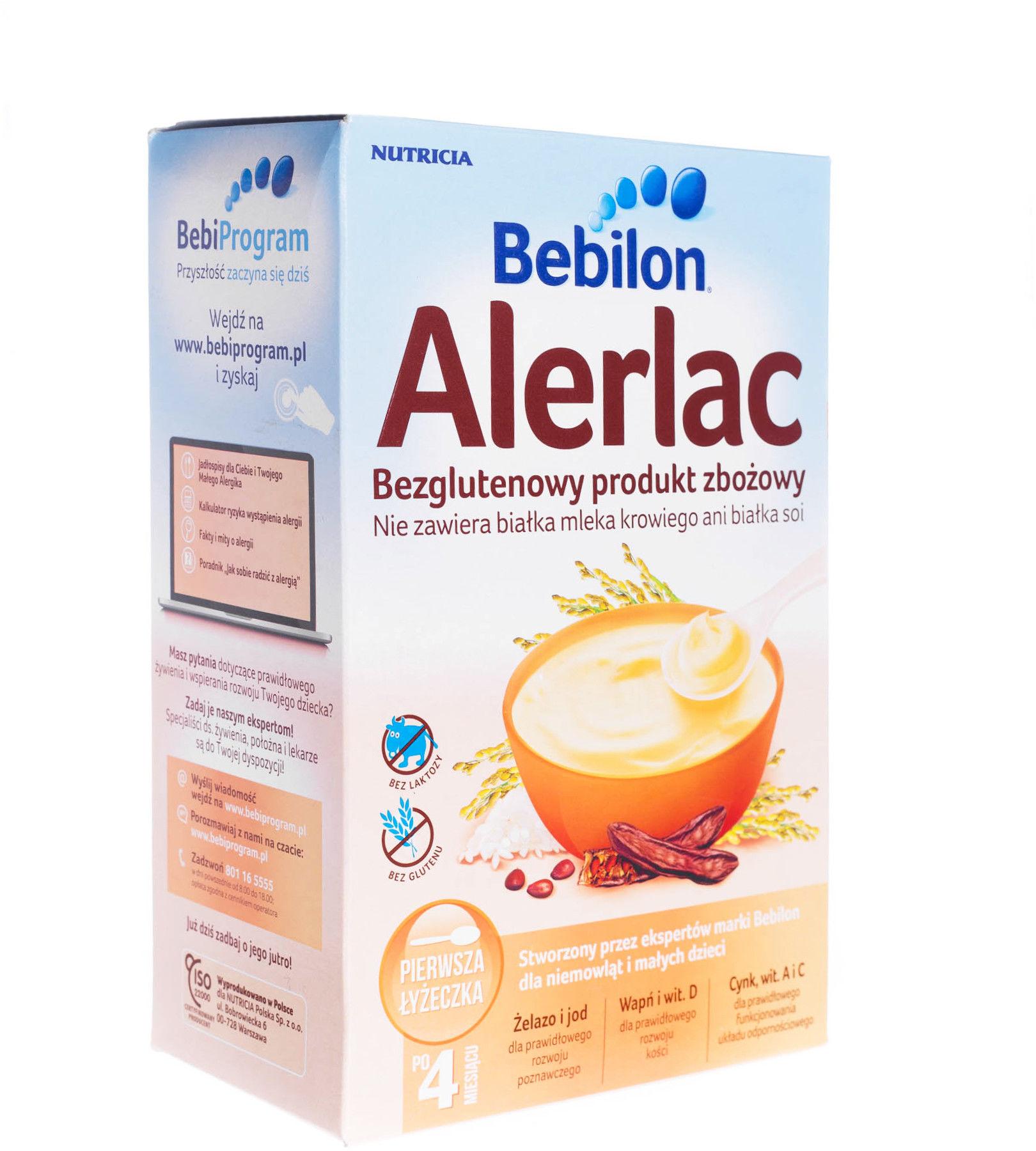 Bebilon Alerlac kaszka bezglutenowa produkt zbożowy w proszku po 4 miesiącu 400 g