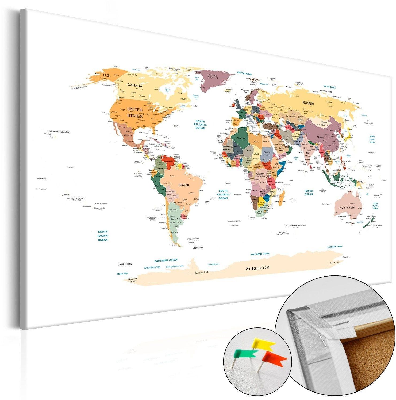 Obraz na korku - mapa świata [mapa korkowa]