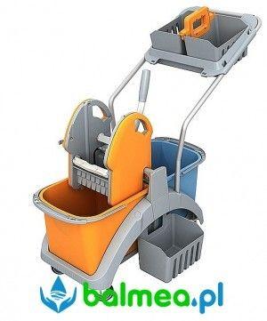 Wózek do sprzątania Splast TS2-0010 dwuwiadrowy z koszykiem hotelowym i bocznym