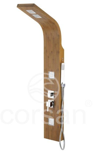 Corsan Bao panel natryskowy z mieszaczem chrom drewno bambusowe B-022MBCH