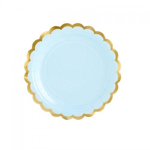 Talerzyki błękitne ze złotą obwódką PasteLOVE