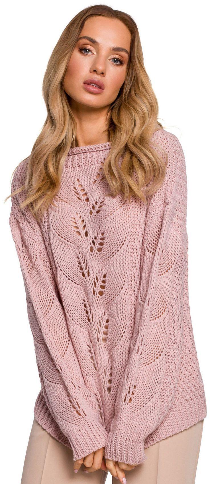 M600 Sweter z ażurowym wzorem - pudrowy