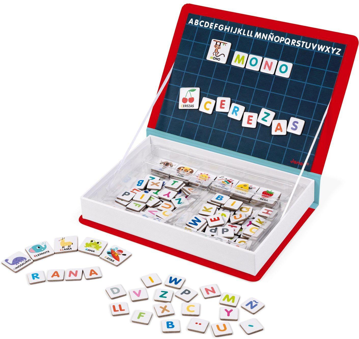 Janod J02714 Magneti''Book Alfabet Gra edukacyjna, wersja hiszpańska
