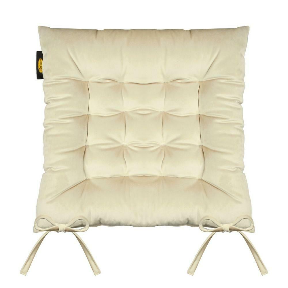 Poduszka siedzisko 40x40x8 Velvet 16 na krzesło złota welwetowa z wiązaniem dekoracyjna Eurofirany