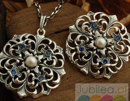 Luiza - srebrny komplet perła i szafiry