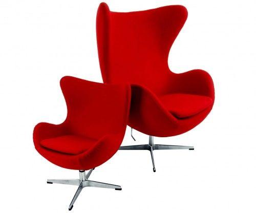 Czerwony Fotel dziecięcy Wełna Naturalna Inspirowany Projektem Egg Chair