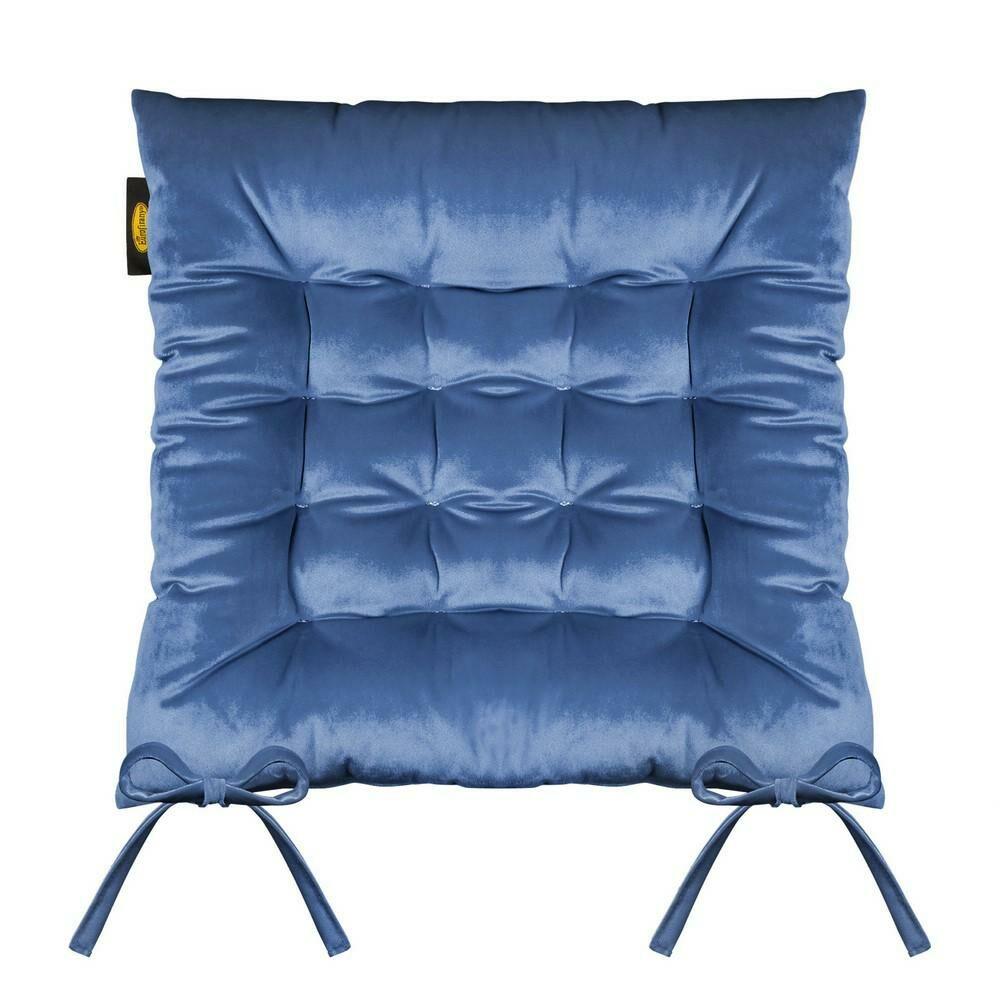 Poduszka siedzisko 40x40x8 Velvet 16 na krzesło chabrowa welwetowa z wiązaniem dekoracyjna Eurofirany