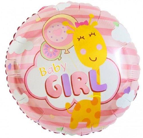 Balon foliowy dla dziewczynki Baby Girl, Żyrafka