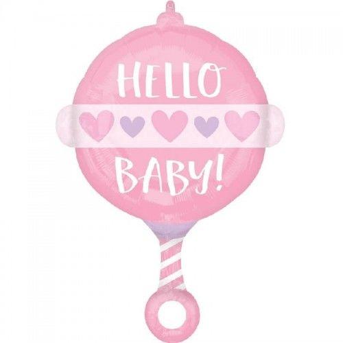 Balon foliowy Grzechotka Hello Baby, różowy