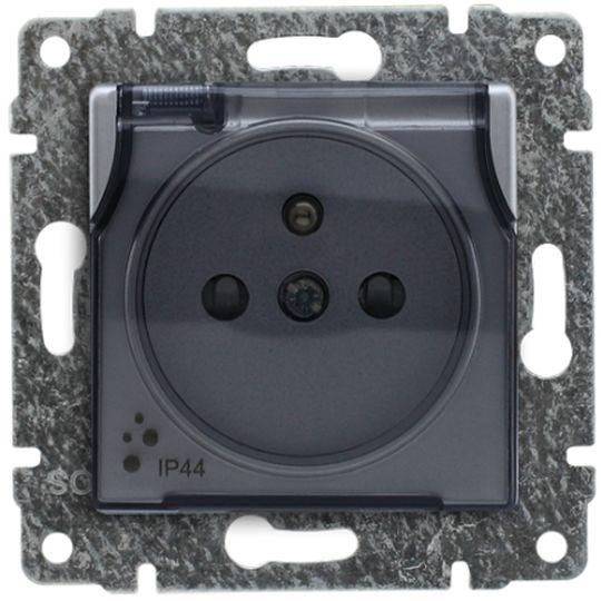 VENA Gniazdo bryzgoszczelne z/u IP44 z przesłonami klapka transparentna aluminium 514039