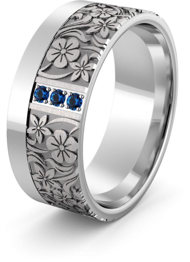 Obrączka srebrna z kwiatkami i szafirami - wzór Ag-474