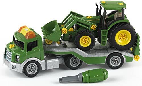 Theo Klein 3908 Transporter z traktorem John Deere I Zestaw śrubowy wraz ze śrubokrętem I Wymiary: 36 cm x 10,5 cm x 17 cm I Zabawki dla dzieci od 3. roku życia