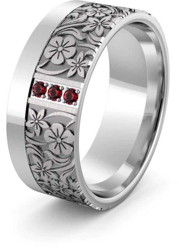 Obrączka srebrna z kwiatkami i rubinami - wzór Ag-474