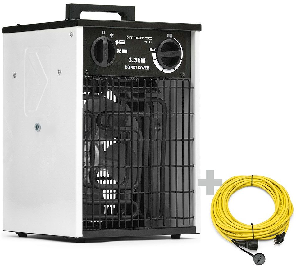 Nagrzewnica elektryczna TDS 20 biała + Przedłużacz Profi 20 m / 230 V / 2,5 mm