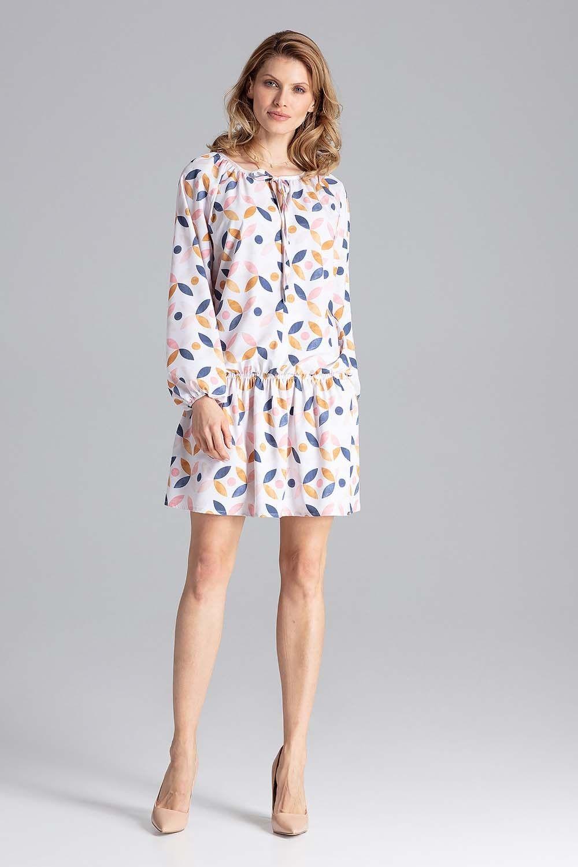 Luźna wzorzysta sukienka z gumką na biodrach