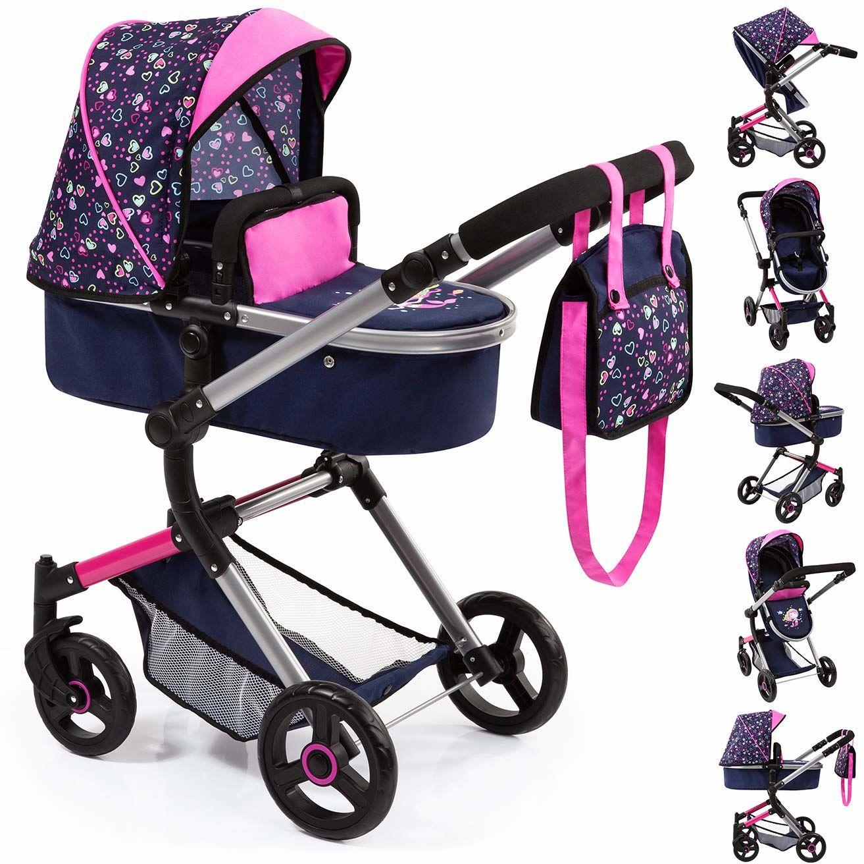 Bayer Design 18417AA wózek spacerowy, wózek kombi dla lalek Neo Vario z torbą do przewijania i koszykiem na zakupy, składany, obrotowe przednie koła, niebieski z sercami, nowoczesny, syrenka
