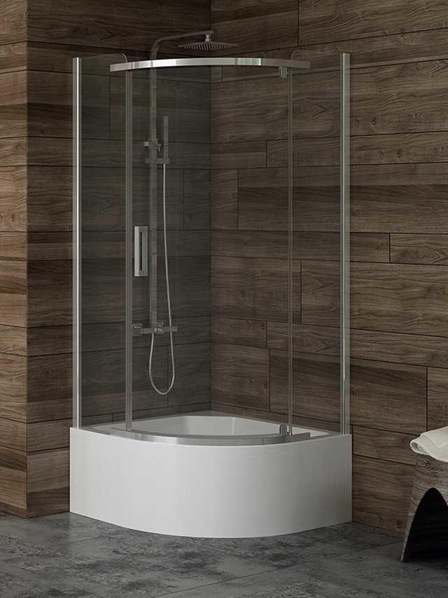 Kabina prysznicowa New Trendy Gold półokrągła New Komfort 90 x 90 cm, wys. 170 cm, szkło czyste 6 mm K-0433