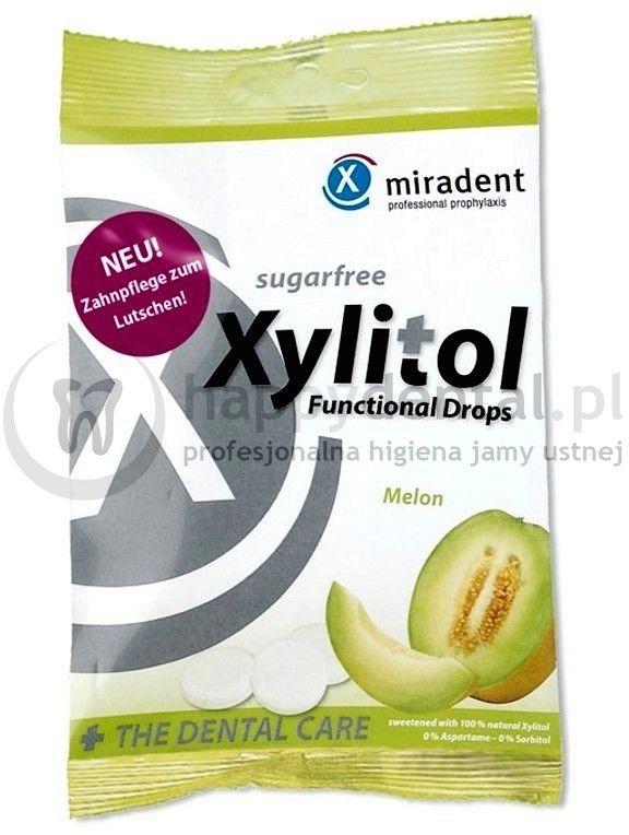 MIRADENT Xylitol Drops 25szt. - przeciwpróchnicze cukierki z ksylitolem dla dzieci i dorosłych (smak: Melon)