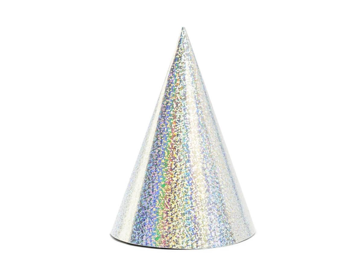 Czapeczki holograficzne srebrne - 6 szt.