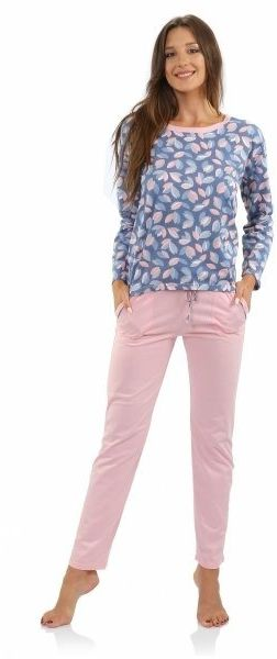 Piżama damska agnieszka long różowa sesto senso