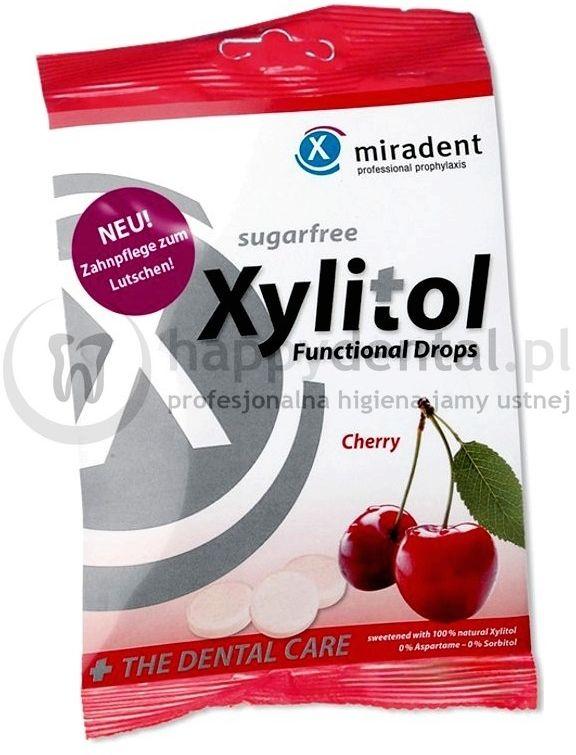 MIRADENT Xylitol Drops 25szt. - przeciwpróchnicze cukierki z ksylitolem dla dzieci i dorosłych (smak: Wiśnia)