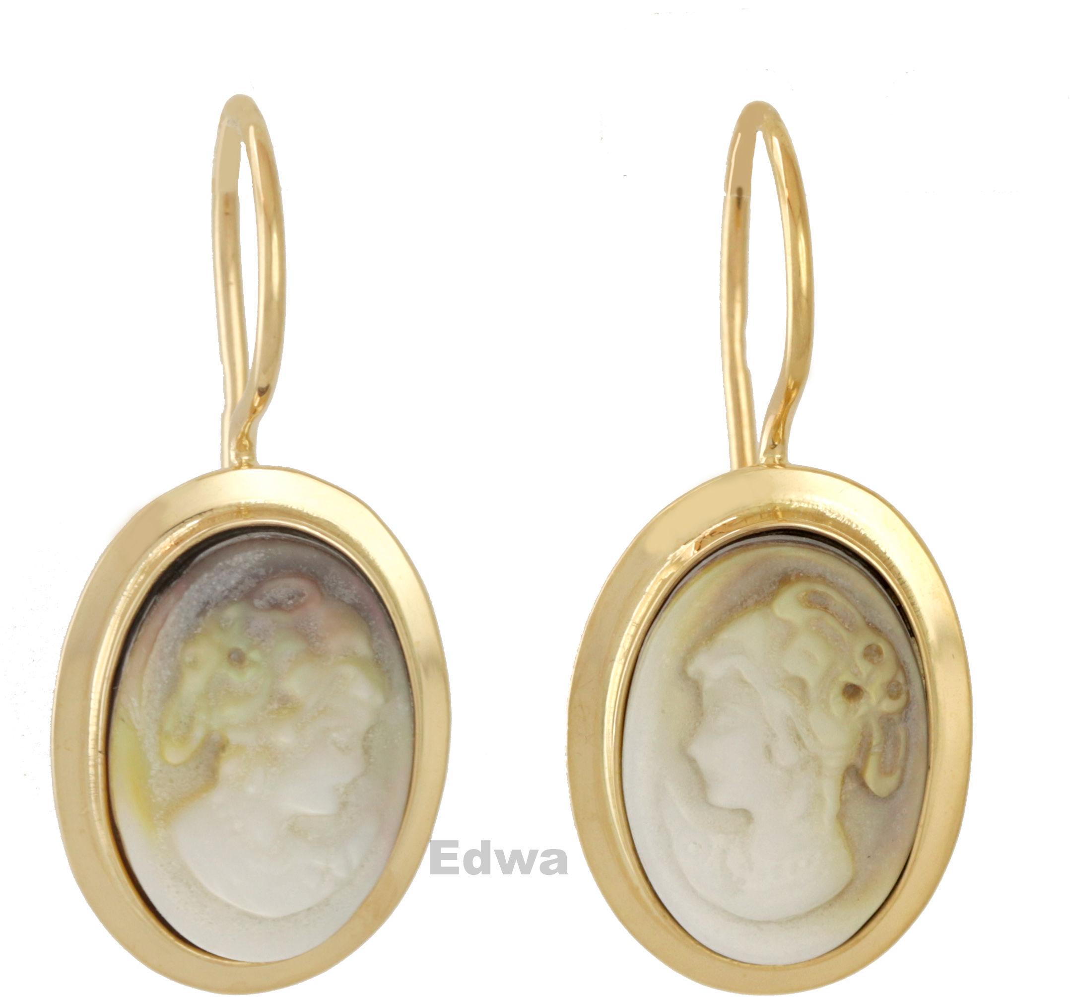 Kolczyki złote Kamea w masie perłowej pr.585
