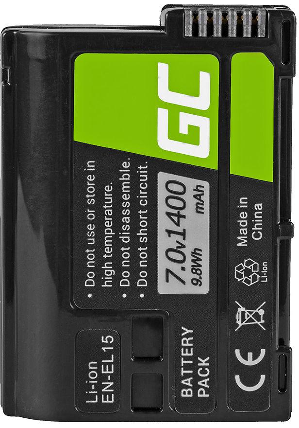 Akumulator Bateria Green Cell  EN-EL15 EN-EL15A do Nikon D600 D610 D750 D800 D810 D810A D7000 D7100 D7200 D7500, 7.0V 1400mAh