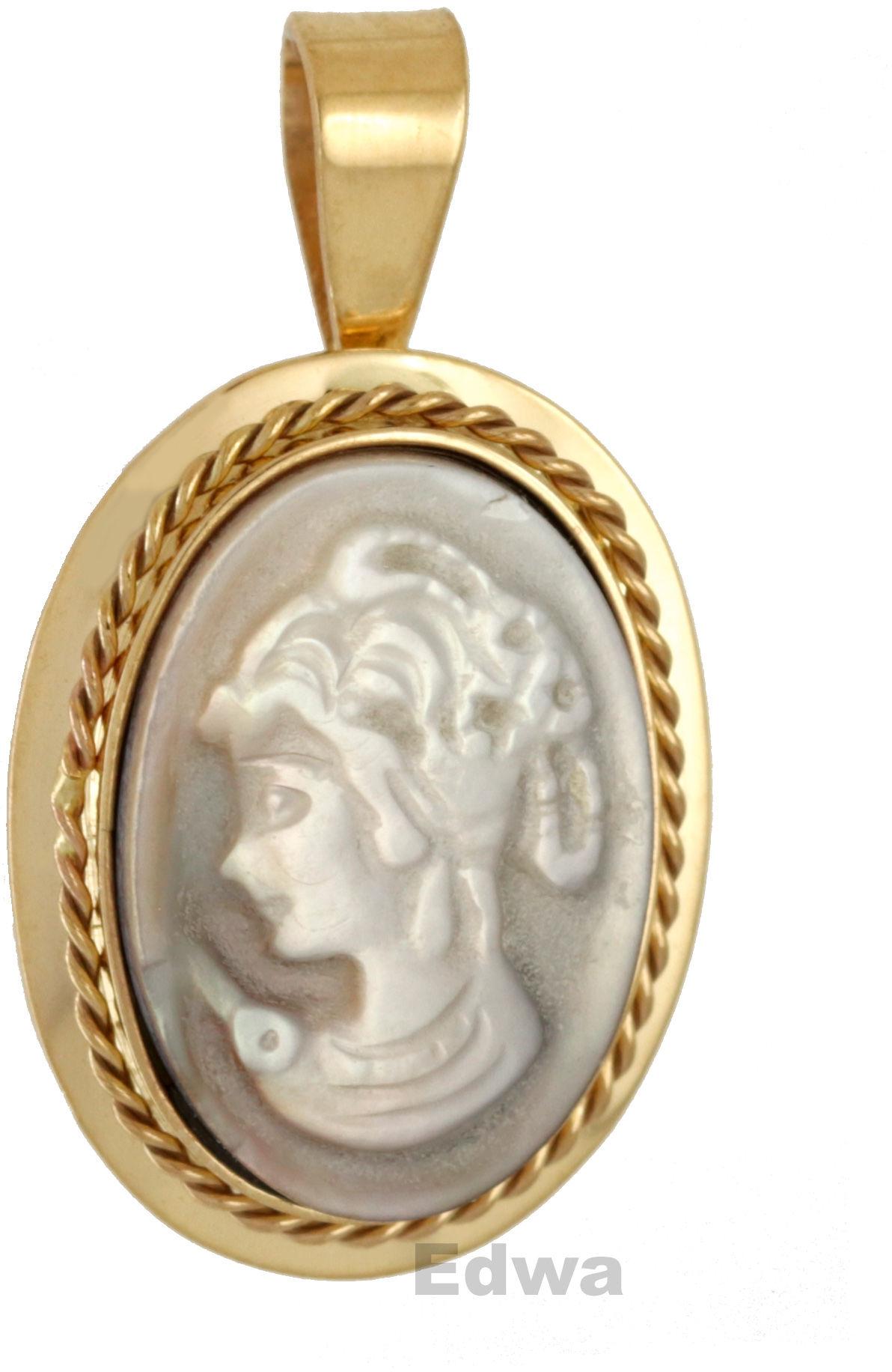 Zawieszka złota Kamea w masie perłowej pr.585