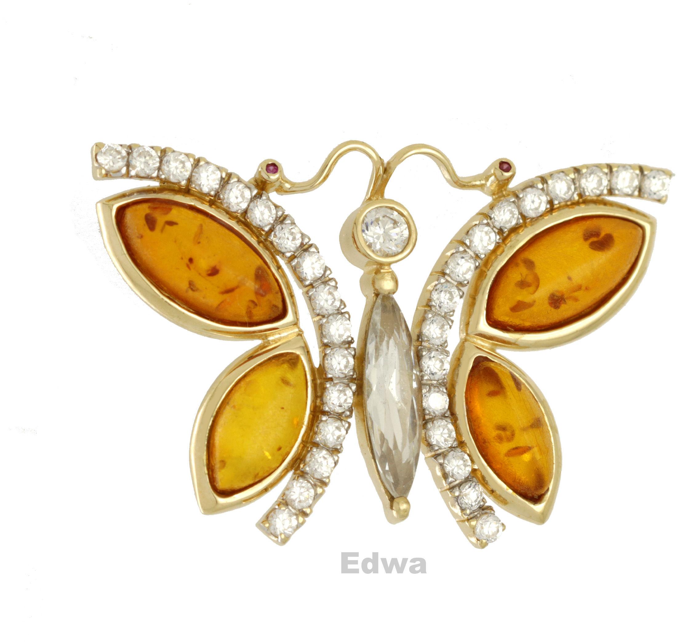 Zawieszka złota Motyl z bursztynem i cyrkoniami pr.585