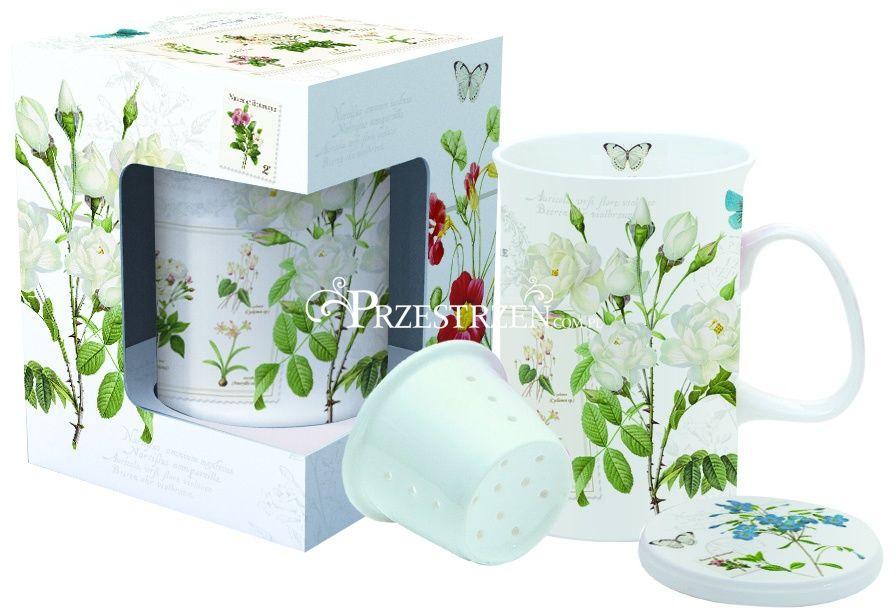 KUBEK PORCELANOWY z ZAPARZACZEM I POKRYWKĄ - Natural - Kwiaty (316 NATU)