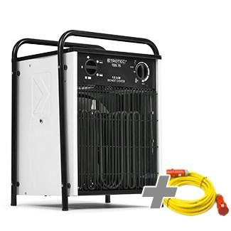 Nagrzewnica elektryczna TDS 75 biała + Przedłużacz Profi 20 m / 230 V / 2,5 mm
