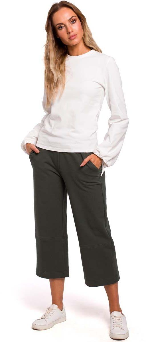 zielone spodnie dzianinowe 7/8 z szerokimi nogawkami