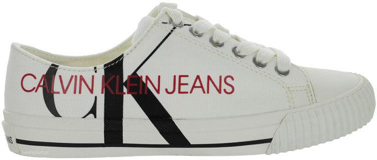 Trampki męskie Calvin Klein Ivano białeB4S0638 BRIGHT WHITE/BLACK