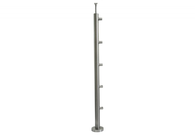 (2) Słupek schodowy z 5 przelotkami fi 12,h=106cm,stal nierdzewna inox AISI304 (A-VS100-5D12)