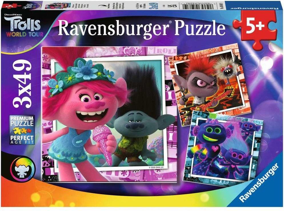 Puzzle 3x49 elementów Trolle World Tour