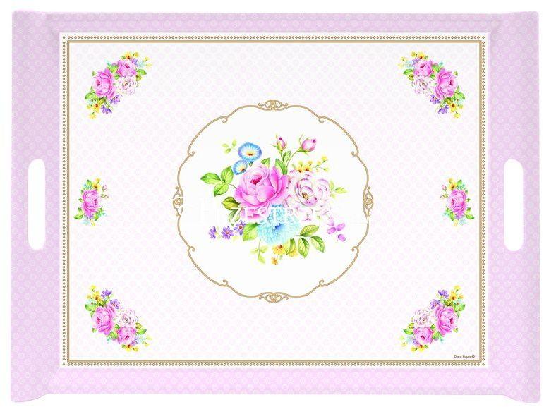 TACA DESEROWA R2S - Różowe Kwiaty (200 PINK)