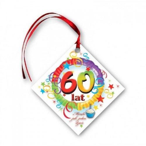 Zawieszki na butelkę na 60 -tkę, Kolorowe Party 20 szt.
