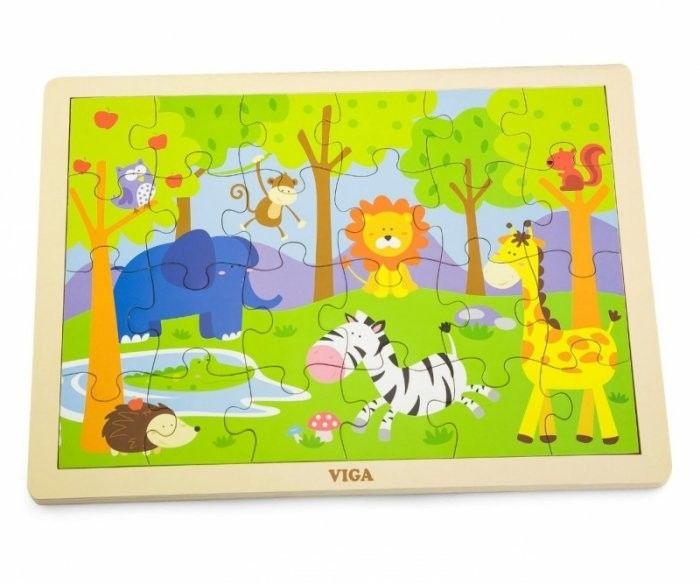 Viga 50198 Puzzle na podkładce 24 elementy zoo