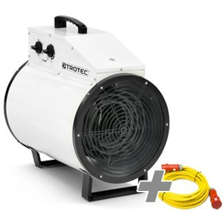 Nagrzewnica elektryczna TDS 75 R biała + Przedłużacz Profi 20 m / 230 V / 2,5 mm