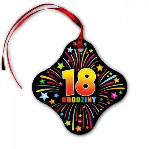 Zawieszki na butelkę na 18 urodziny KolorLove Fajerwerki, z tasiemką 20 szt.