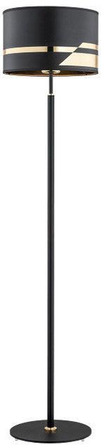 Lampa podłogowa czarna ze złotymi dodatkami METIS 4346