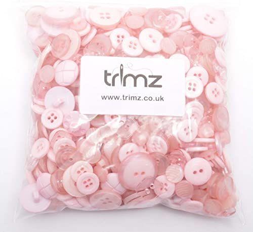 Trimz różne kształty i rozmiary guziki, różowy, 250 g