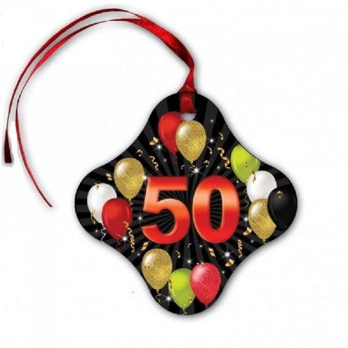 Zawieszki na butelkę na 50 urodziny Balony, z tasiemką 20 szt.